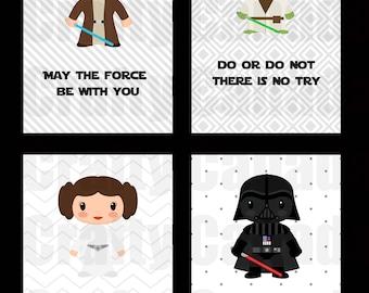 Kids Star Wars Poster Pack, Gender Neutral, Leia, Darth Vader, Yoda, Obi Wan Kenobi, Quotes