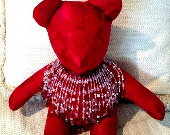 "Red Brocade Bear with Red Headband (3 Views), 7"" Beaded Fringe, Homemade Bear, Decorator Bear, One-of-a-Kind Bear, 13.5"""