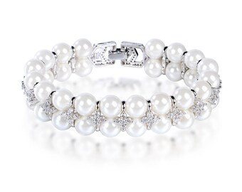 """LilyTreacy Pearl Bracelet Double Row Quality 8mm Shell Pearl&Top CZ white 7.5"""""""