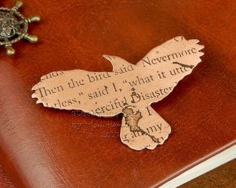 Copper raven brooch, bird brooch, quote jewellery, text jewellery, poetry jewellery, antique style, ancient style.