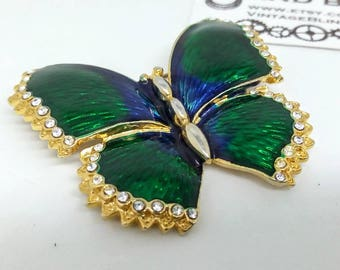 43x38mm vintage butterfly guilloche pin, guilloche pin, green guilloche pin, green butterfly pin, green enamel butterfly pin, brooch