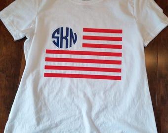 Monogrammed Flag T-Shirts/Flag T-Shirts/Monogrammed T-Shirts/4th of July Shirts