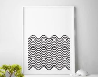 Affiche scandinavia, black and white scandinavian pattern print, nordic design, minimalist art, waves printable art