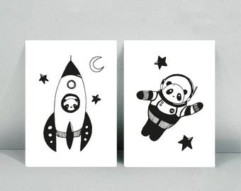 2 postcards A6 Illustration - Pandastronaute - Panda Rocket