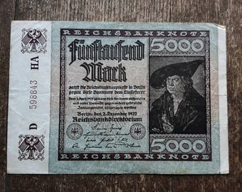 Germany Funftauzend 5000 Mark Banknote 1922,Old German Banknote 5000 mark
