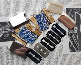 Lot of Vintage Razor Blade Case with Gillette British Blade,Polsirlver Razor Blade,Mincelame Bleue Razor Blade,Astra Razor Blade,Cesar Blade