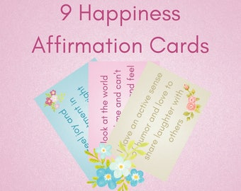 9 Happiness Affirmation Cards | Printable Inspirational Cards - Affirmation Cards - Gratitude Journal - Inspirational Print