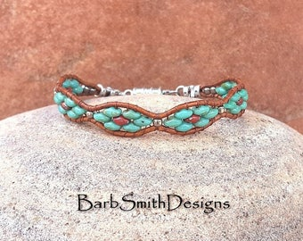 Turquoise Silver Leather Wrap Cuff Bracelet - The Flower Girl in Turquoise n' Poppies - Custom Size It!