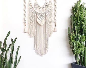 Macrame Wall Hanging Large on Driftwood with Weave, Copper, Tassels, Frills, Fringing || Boho, Gypsy, Nursery, Wallhanging, Wall Art