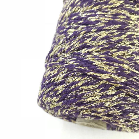 Metallic Macrame Cord VIOLET LIGHT 4mm 100m 3 PLY | Gold, Silver, Ivory, Grey, Red, Maroon, Green | Golden Thread and Silver Thread