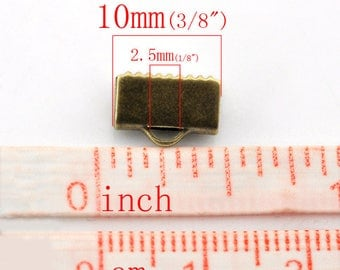40 ends clip Ribbon, smooth, 10mm, bronze antique Tbqualite