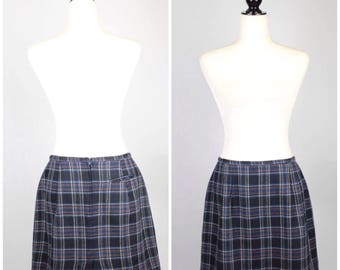 SALE VTG Blue Plaid Wool Mini Skirt