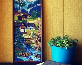 Vintage - canvas mountain landscape canvas - 1970's tapestry frame wood - decorative tapestry