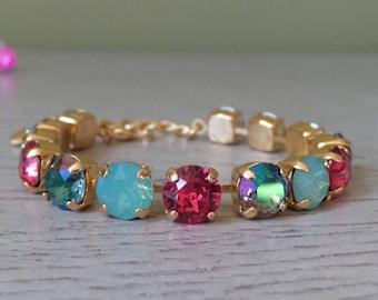 Pink Tennis Bracelet - Swarovski Crystal - Watermelon Color Bracelet - Green Purple and Pink Gold Bracelet - Gifts for Her - Mint