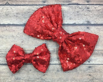 Red Sequin Bow on Shimmer Elastic Headband, Hair Tie, or Clip;  Sequin Hair Bow, Red Hair Bow, Custom Headband, Bow on Hair Tie