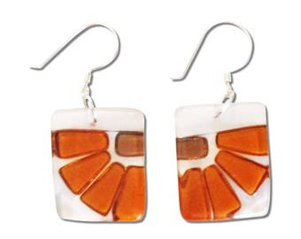 Fused Glass Flower Square Earrings. Fun, Unique and Cute earrings, Beautiful Amber Brown Colorful Earrings, Fall Earrings