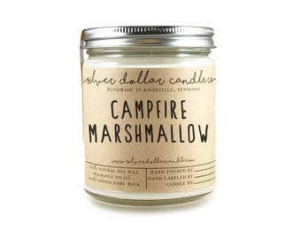 Campfire Marshmallow Scented Candle, Soy Candle, Marshmallow, Handmade Scented Candle, Mens candle, gift for men, natural candle, man candle