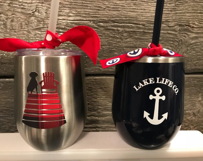 Lake Life Company Logo Custom Double Wall Insulated Stemless Wineglass