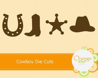 Cowboy Die Cuts, Western Baby Shower, Sheriff Star, Horseshoe, Cowboy Birthday Party Decor, Cupcake Toppers, Cowboy Cut Outs, Cowboy Boots