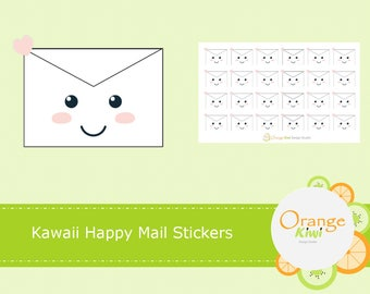 Kawaii Happy Mail Planner Stickers, Happy Mail Stickers, Planner Stickers, Envelope Seals, Packaging Stickers, Shipping Stickers