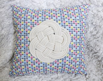 Navy bow and flowers cushion
