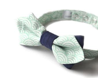 Bowtie men, in mint/purple white printed cotton tie and adjustable