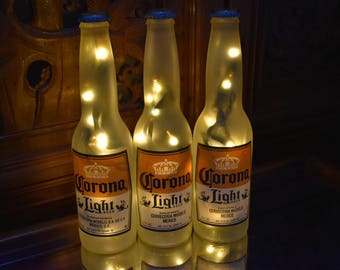 Corona Light Beer Bottle Light  3 Pack Frosted Glass (Yellow lights)  Bar Light, Corona Beer Lamp, Corona Light, Corona Beer Light, Corona