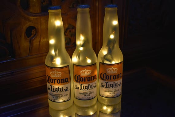 Corona light beer bottle light 3 pack frosted glass yellow like this item mozeypictures Images
