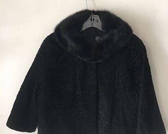 Really beautiful bolero from astrakhan fur and mink collar soft and velvet fur festive look old bolero vintage style retro black size-small.