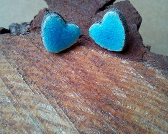Turquoise heart earrings raku ceramic with butterfly clasp