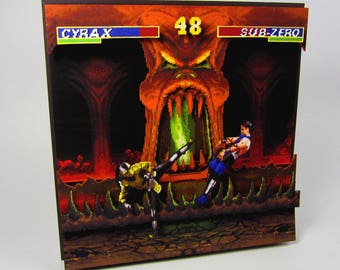 Mortal Kombat (NES) Video Game Shadow Box with Frame
