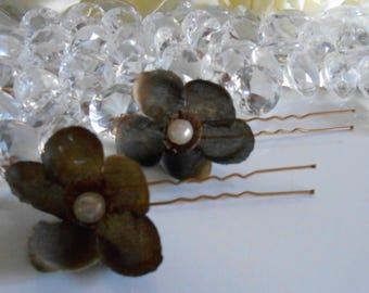 Set 2 Brown beaded flowers wedding hair pins