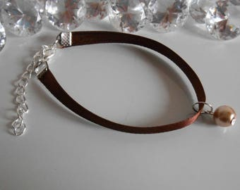 Adult/child Brown satin ribbon and beige pendant wedding bracelet