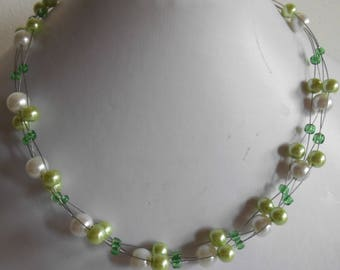 Emerald Necklace twisted lime green and white wedding