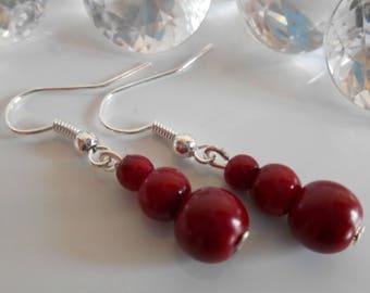 Trio of Burgundy Pearl wedding earrings