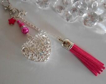 "Bag charm / key ""Proof of love"" fuchsia"