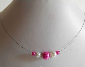 Rhinestone wedding necklace Fuchsia and white pearls