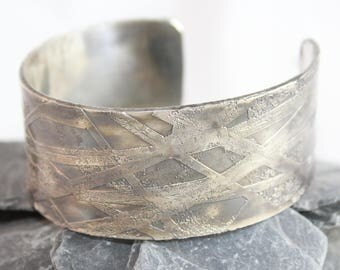Beautiful Sterling Silver Etched Cuff Bracelet (100917-011)