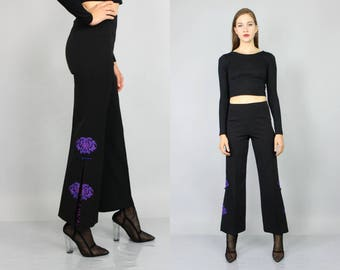 SUMMER33OFF vtg 90s black purple oriental embroidered high hi waist bells bellbottoms M