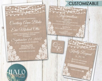 Rustic Burlap Lace & Lights Wedding Invitations