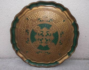 Florentine tray of the 70s - large green and gold round tray - tray vintage Italian baroque rococo - gilded Florentine decorative tray