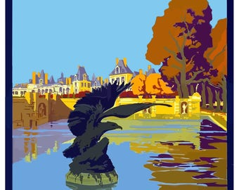 Vintage Fontainebleau Avon France Travel Poster Print