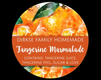 Customized Label - Tangerine Marmalade, Watercolor Style Canning Jar Label - Wide Mouth & Regular Mouth - Watercolor Tangerine Label