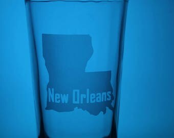 New Orleans Glass - Pint Glass - Louisiana - State Pride - State Love - Gift Ideas - Gifts for Him - Customization - Personalization