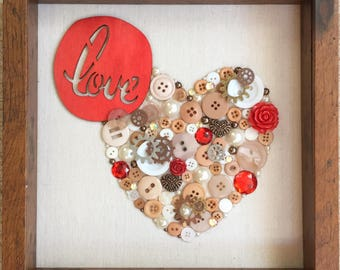 Love heart-shaped collage steampunk 9x9 inches on linen shadow box frame