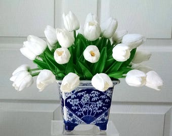 Real Touch Flowers Centerpiece-Real Touch Tulips-Faux Floral Arrangement-Tulips Arrangement in White and Blue Vase-Faux Arrangement