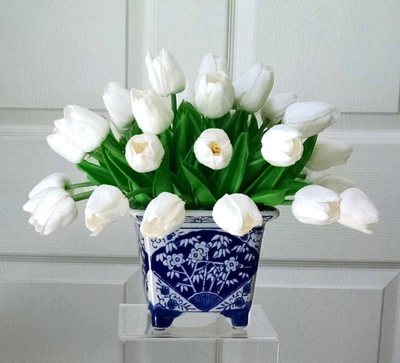 Real Touch Flowers Centerpiece- Real Touch Tulips-Faux Floral Arrangement- Arrangement-White Tulips-Silk faux arrangement -Fake flowers