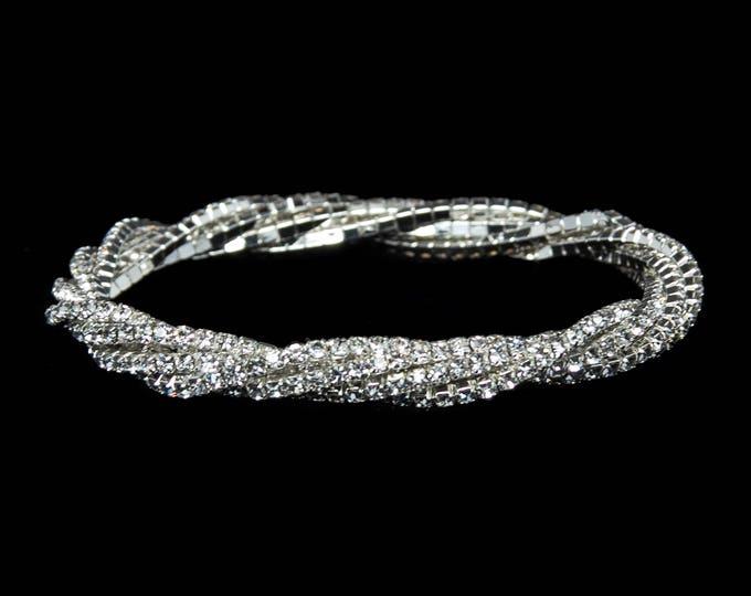 Lana Clear Crystal 5 Strand Twist Stretch NPC Bikini Fitness Competition Bracelet
