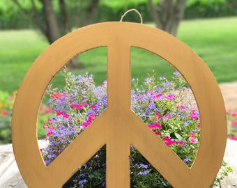 Large Distressed Wooden Yellow Peace Sign