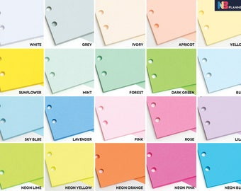 Plain 50 sheets Blank Notepaper Insert A5 Personal Filofax A5 Kikki.K Large Compatible Refill Coloured